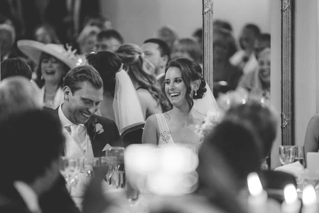 Bride surprised at Groom during best mans speech