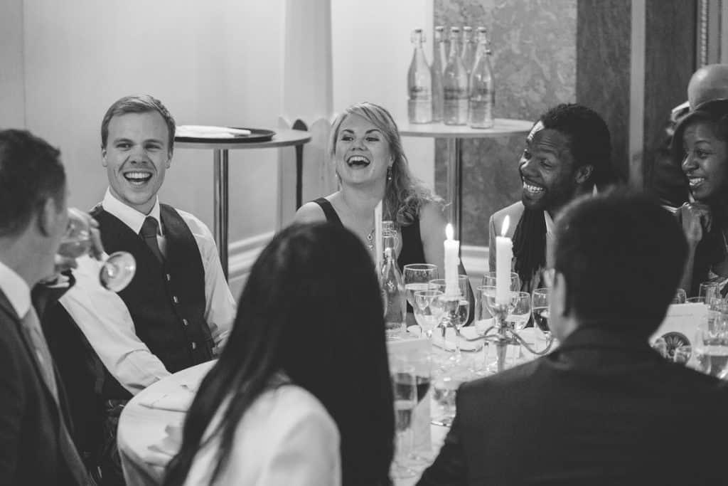 Friends enjoying the wedding breakfast at Lansdowne Club